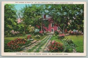 New Bardstown Kentucky~Garden Near Old House~Vintage Postcard