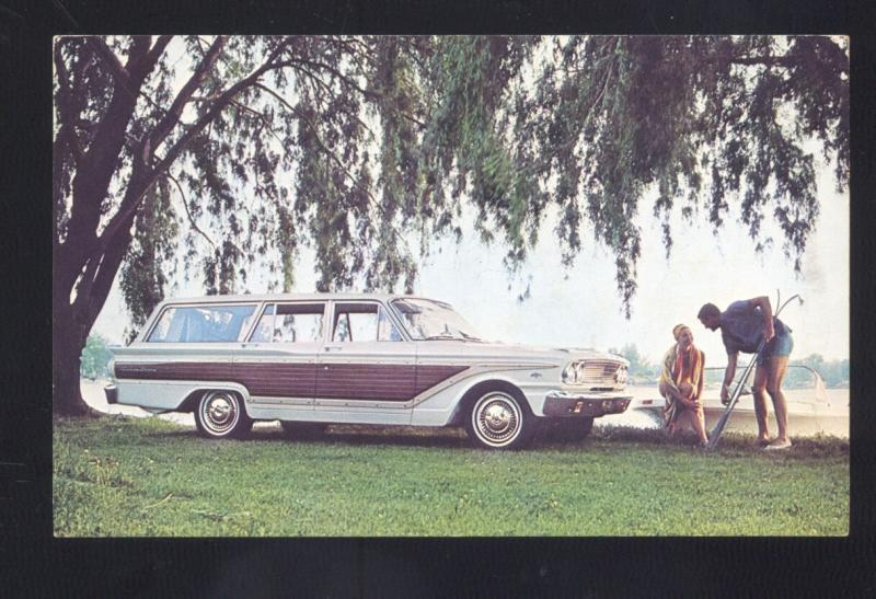1963 FORD FAIRLANE SQUIRE STATION WAGON '74 CAR DEALER ADVERTISING POSTCARD