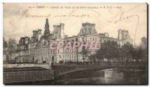 Paris Postcard Old City Hall and bridge & # 39arcole