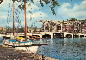 Netherlands Amsterdam Meagre Bridge Across the Amstel River Boat Postcard