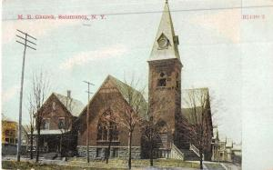 Salamanca New York ME Church Street View Antique Postcard K48886