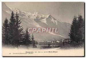 Old Postcard Chamonix (Alt 1050m) and Mont Blanc