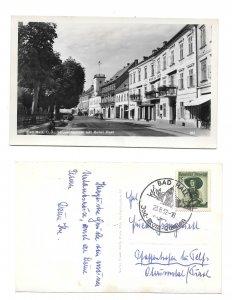 Austria RPPC Bad Hall Strassenpartie mit Hotel Post Franz Mortl 1952 RP Postcard