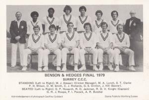 Benson & Hedges Cup Final 1979 Surrey & Essex Cricket Postcard RARE MISPRINT