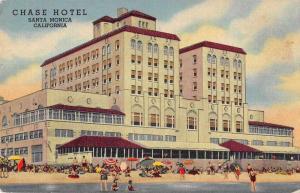 Santa Monica California Chase Hotel and Beach Scenic Antique Postcard J74654