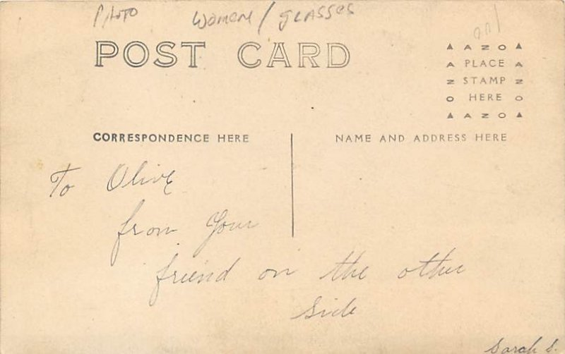 Lady wearing Hat Writing on back real photo