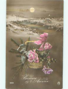 tinted rppc c1910 BEAUTIFUL FLOWERS AC9123