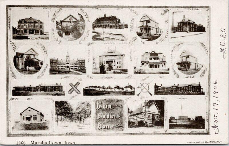 Marshalltown Iowa IA Multiview Buildings c1906 Ullberg Postcard F21
