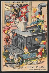 VICTORIAN TRADE CARD Dixon Stove Polish Many Brownies On & Around Stove c1888