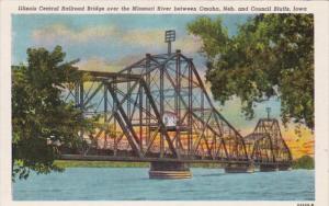 Iowa Council Bluffs Illinois Central Railroad Bridge Over Mississippi River C...