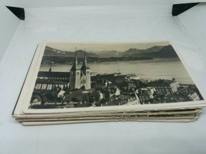 Job Lot 40 Vintage B&W Topographical Foreign Postcards Standard Size Mixed