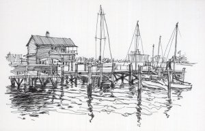 Freemason Street Norfolk Virginia Stunning Sketch Painting Postcard