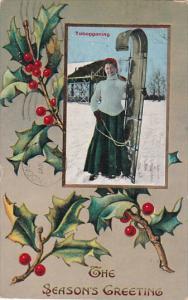 The Season Greetings, Woman Tobogganing, Holly, PU-1911