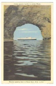 Steamer passing Arch in Perce Rock, Province of Quebec, Canada, 10-20s