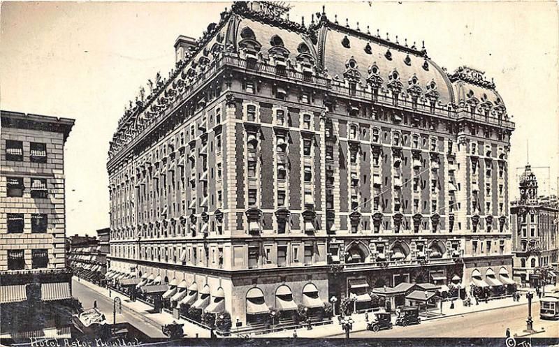 New York NY City Hotel Astor Wilkerson Photo in 1910 RPPC Postcard