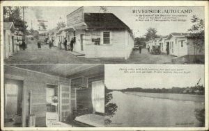 Red Bluff CA Riverside Auto Camp Mileage Chart on Backside Old Postcard
