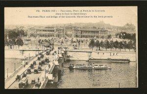 Vintage Paris France Panorama Place Pont la Concorde Fleury Foto Postcard