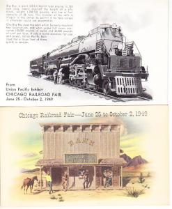 Chicago Railroad Fair 1949 - Two Cards