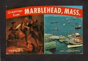 MA Greetings From Marblehead Mass Massachusetts Postcard Harbor Yachts