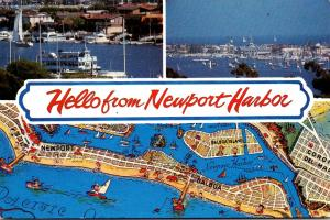 California Newport Harbor Hello With Map & Bay Scene With Yachts