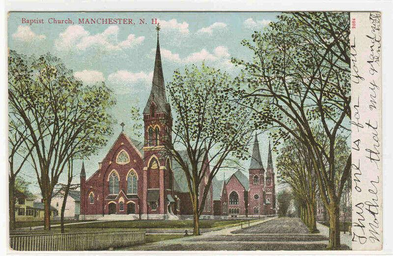 Baptist Church Manchester New Hampshire 1907c postcard