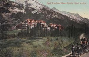 Stage Coach at Banff Hotel and Mt Rundle - Alberta, Canada - DB