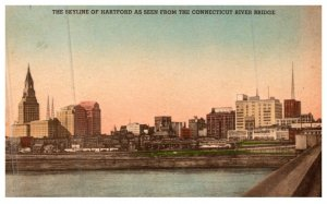 Connecticut Hartford , Skyline seen from Connecticut River Bridge