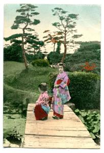 Japanese Women Lily Pond Bridge Japan postcard