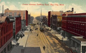 Center Avenue, Looking East, Bay City, Michigan, early postcard, used in 1911