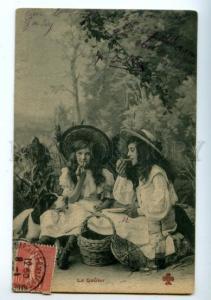 158016 PICNIC Girls w/ SETTER POINTER Vintage photo PC