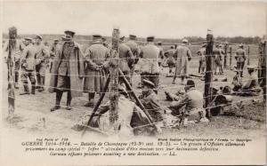 Battle of Champagne Guerre War WW1 German Officers Prisoners Postcard E37