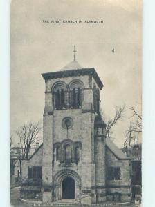 Unused 1940's CHURCH SCENE Plymouth Massachusetts MA hs7475