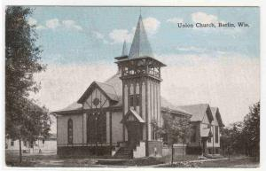 Union Church Berlin Wisconsin 1910c postcard