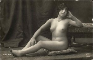Nude Woman Necklace Series 212 VC Paris Real Photo Card Blank Backside