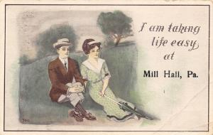 I Am Taking Life Easy At Mill Hill PA~Couple on Hill~She w/Umbrella c1913
