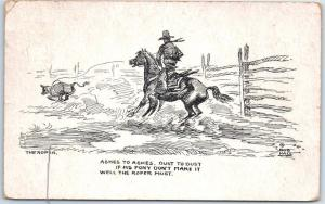 Artist-Signed BOB HALL Cowboy Postcard THE ROPER w/ 1949 Montana Cancel