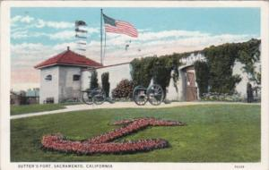 California Sacramento Sutter's Fort 1936 Curteich