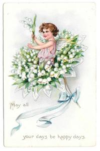 Tuck Fantasy Birthday Postcard Fairy Bouquet Lily of Valley