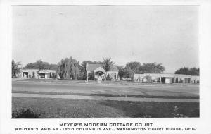 Meyer's Modern Cottage Court, Washington Court House, Ohio, Vintage Postcard