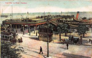 Hull Pier & River Humber, England, Early Postcard, Used