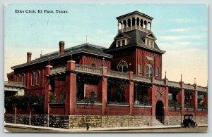 El Paso Texas~Elks Club~BPOE Lodge~Head Mount Above Entry Arch~Vintage Car~1912