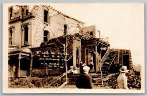 St Louis MO~113 McPherson Avenue~Homeless Ladies Sort Ruins~1927 Tornado~RPPC
