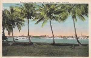 PALM BEACH, Florida, 1910-1920s; Private Yachts On Lake Worth