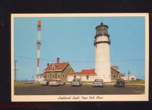 CAPE COD MASSACHUSETTS HIGHLAND LIGHT LIGHTHOUSE 1950's CARS