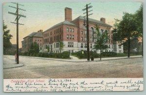 Cambridge Massachusetts~Cambridge High School~Barrel Trashcan on Corner~1906