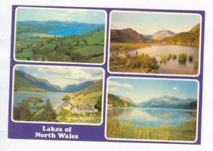 4-view postcard, Lakes of North Wales, UK 60-70s  Bala Lake, Tal-y-Lyn,Llyn P...