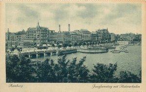 Postcard Germany Hamburg Jungfernstieg mit Alsterarkaden