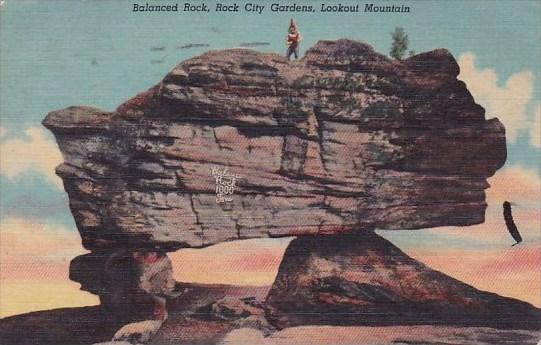 Balanced Rock City Gardens Lookout Mountain Chattanooga Tennessee 1951