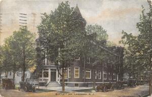 Lakewood New Jersey~Bartlett Inn~Victorian Bldg~Cars in Street~NY Sign~1910 PC
