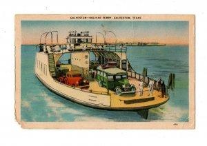 Bolivar Ferry Bus and Cars Motor Coaches Cross Galveston Texas Postcard #83077